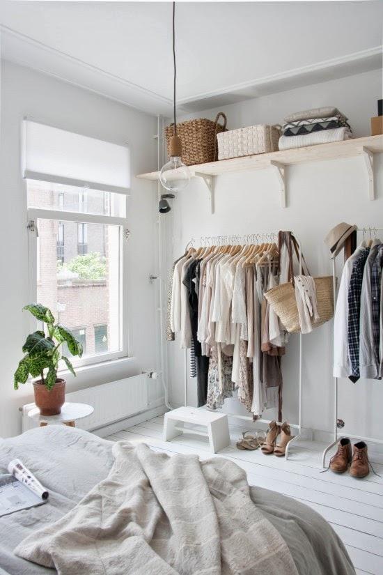 scandinavian open closet